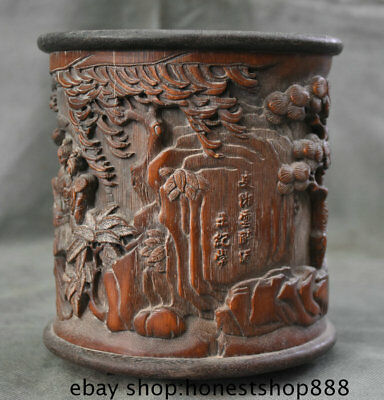 "6.8"" Old China Bamboo Carved Beautiful Woman Belle Dynasty Brush Pot Pencil Vase"