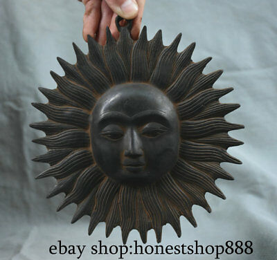 "7.4"" Antique Tibet Bronze Temple Sunshine Sun Goddess Pendant Widgets"