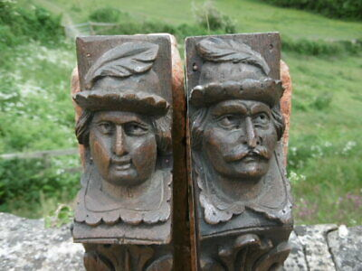 SUPERB Pr 19thc BLACK FOREST OAK CARVED CORBELS MALE WITH FEATHER IN HAT