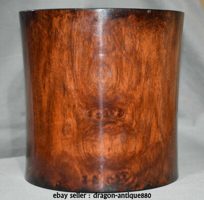 """8"""" Old China Huanghuali Yellow Pear Wood Dynasty Palace Brush Pot Pencil Vase A1"""