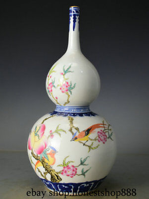 "12"" Marked Chinese Famille Rose Porcelain Peach Flower Bird Gourd Bottle Vase"