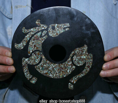 "7"" Old Chinese Neolithic Hongshan Culture inlay Turquoise Horse Circle Yu Bi"