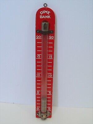 Vintage BRIO Wooden Red Dime Savings Bank Thermometer Advertising