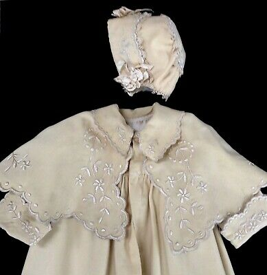 antique long christening coat + bonnet wool flannel w lovely embroidery, 1880s?