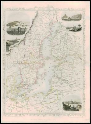 "1850 Antique Map of ""BALTIC SEA"" Sweden Finland Denmark  by Tallis  (43d)"