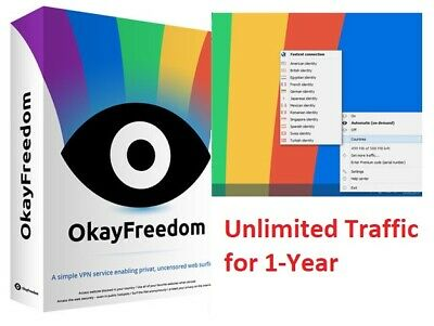 OkayFreedom VPN Premium - 1 Year |  Unlimited Traffic | Fast Delivery