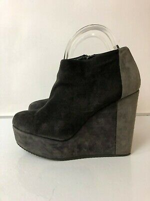 7cda80eb69f PIERRE HARDY LEATHER Black Platform Wedge Ankle Boots Size 39/US 8 ...