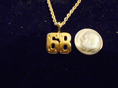 bling gold plated sports race number 68 pendant charm hip hop necklace jewelry