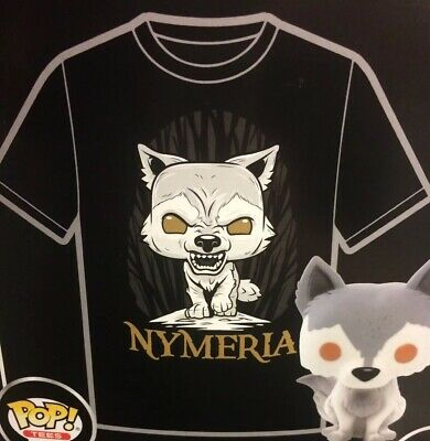 Funko Game of Thrones Arya's Direwolf Nymeria Hot Topic T-Shirt Exclusive Size S