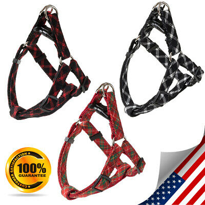 Basic Dog Harness - Step in Nylon Puppy Vest 3 Colors,classical plaid pattern