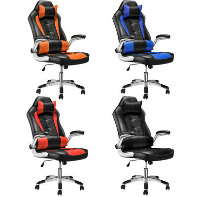 High Back Office Chair Racing Sport PU Leather Swivel Chair with Head Pillow