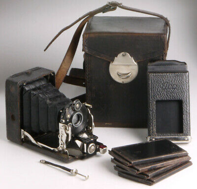 Ica Atom,antique folding camera for 4.5x6cm plates +plate holder +film pack+case