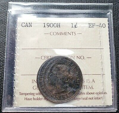 1900H Canada Large Cent Coin ***ICCS Graded EF-40***