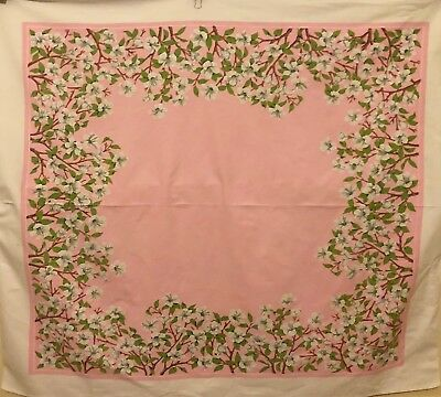 Vintage Tablecloth Pink White Flowers Floral Branches  56 x 59