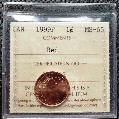 1999-P Canada Small Cent Coin ***ICCS Graded MS-65, Red***