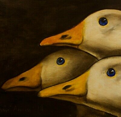 GEESE : ORIGINAL OIL PAINTING : Farmyard Poultry Goose Bird Art by David Andrews