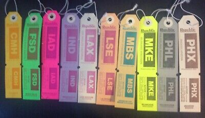 LUGGAGE BAGGAGE HANG Tags Claim Check Lot of 10 Republic Airlines UNUSED