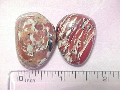 BRECCIATED CREAM JASPER SOUTH AFRICAN TWO POLISHED TUMBLED STONES 1.3 oz tw.