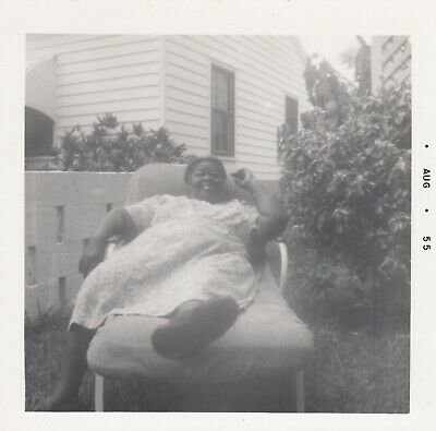 Vintage Black African Americana Photo Fat Lady in Lounge Chair Snapshot