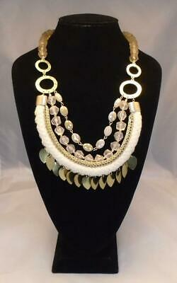 f4704d4d8fd2fe Anthropologie Layered Statement Necklace Nwt Acrylic Braided Cloth Free Ship