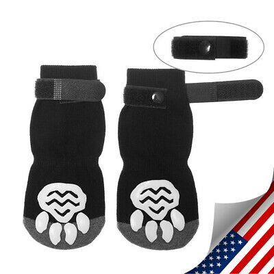 4PCS Dog Socks Knitted Pet Shoes Paw Print Non-Slip for Small Medium Large Dogs