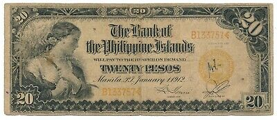 Bank of Philippine Islands 20 Pesos 1st Jan 1912 P. 9b Rare Note
