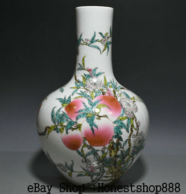 "13.6"" Marked Old Chinese Wucai Porcelain Dynasty Palace Peach Flower Bottle Vase"