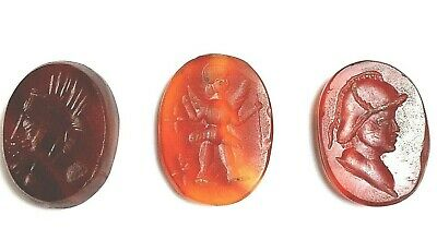 lot ancient pendant carnelian roman intaglio  king seal antique rare 300 bc