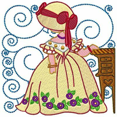 VICTORIAN SUNBONNET  10 MACHINE EMBROIDERY DESIGNS CD or USB