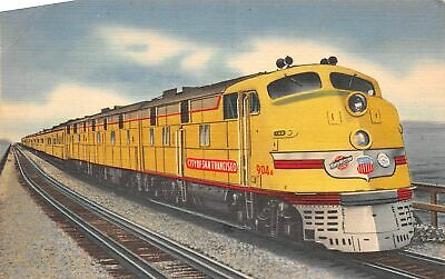 C20-5750, Yellow Streamliner Train, Crossing Great Salt Lake.