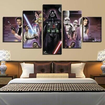 5 Panel Framed Star Wars A New Hope Poster Modern Decor Canvas Wall Art HD Print