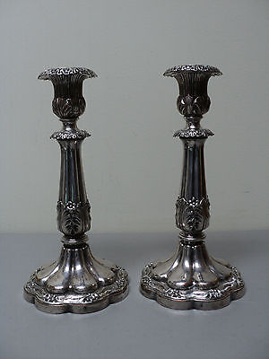 ORNATE PAIR ENGLISH 19th C. OLD SHEFFIELD PLATE (OSP) SILVER CANDLESTICKS