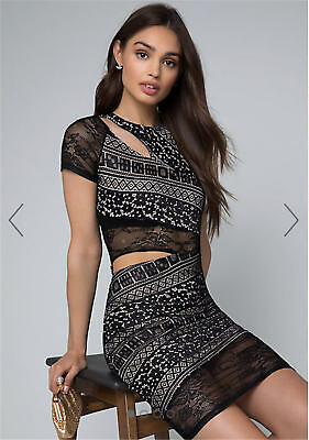 BEBE Cutout Lace Dress 290380 Size XS