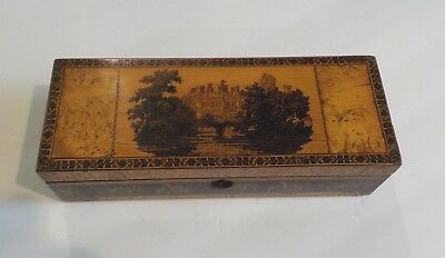 19th c. English TUNBRIDGE WARE Glove Box, Castle Scene, c. 1830