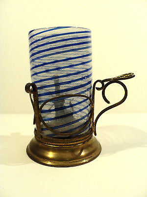 RARE 19th C. CONTINENTAL CANDLE LAMP with VENETIAN ART GLASS SHADE, COBALT SWIRL