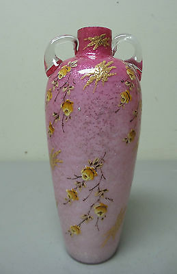 BEAUTIFUL 19th C. CRANBERRY ART GLASS VASE, INTERNAL SILVER MICA, ENAMEL DECOR