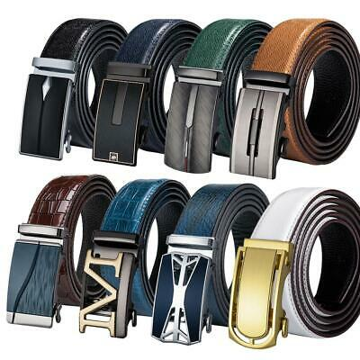 "Mens Replacement Belts Automatic Buckles Real Leather Ratchet Straps 26"" to 56"""