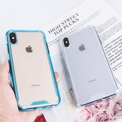 For iPhone XR XS Max 8 7 6S Plus Shockproof Bumper Transparent Slim Case Cover