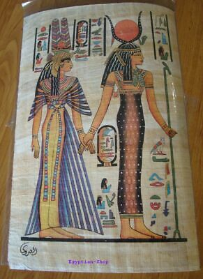 Genuine Egyptian  PAPYRUS -Isis & Nefertari -Hieroglyphics -29.5 x 19.5cm   #416