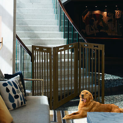 """Dog Gate Pet Fence Baby Playpen Folding Wood Barrier Free Standing 24"""" 36"""" 60"""""""