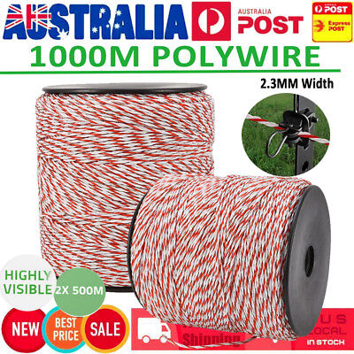 1000M Roll Electric Fence Fencing Polywire Kit Stainless Steel Poly Wire Rope GS