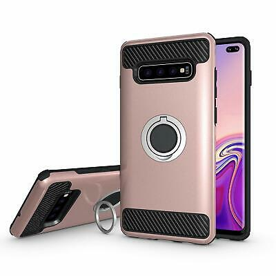 Galaxy S10 Plus Case Armor Dual Layer Heavy Duty Finger Ring Holder Rose Gold