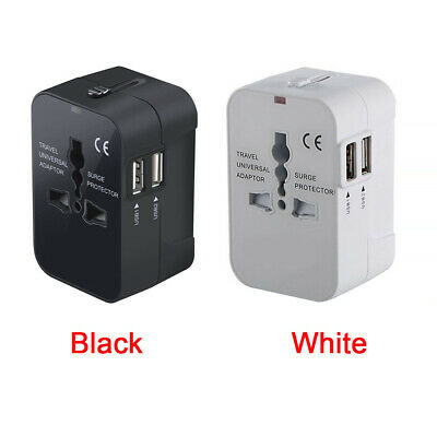 NEW World Wide Universal Travel Adapter Multi Plug Charger with Dual USB 2 Ports