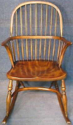 Period Style Solid Elm Windsor Rocking Chair With Crinoline Stretcher