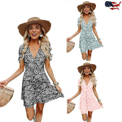 Women Casual A-Line Mini Dress Short Sleeve VNeck Floral Print Button Bow Summer