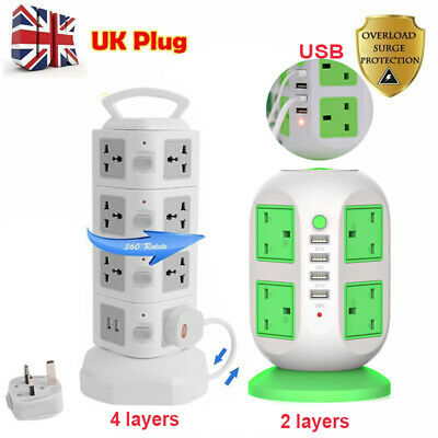 Vertical Power Strip Tower Multi Plug USB Socket Surge Protect Extention Lead FU