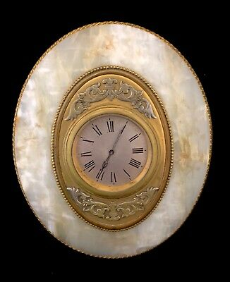 Antique Onyx & Gilt Ormolu 8 Day Mantel Bracket Easel Clock ROBINSON SHREWSBURY