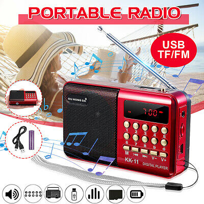 Mini Portable Digital Radio Speaker LCD FM USB TF Card MP3 Player Rechargeable