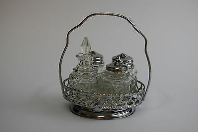 Vintage 5 Piece Cut Glass Condiment Set Salt Pepper Cruet Vinegar & Stopper