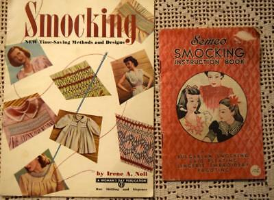 2x SEMCO SMOCKING Books +Bulgarian/Laid Pleating/Lingerie Embroidery/Fagoting